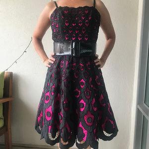 Betsey Johnson pink and black battenburg lace/belt